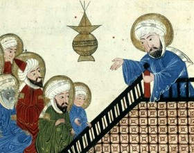 Anonymous illustration of al-Bīrūnī's The Remaining Signs of Past Centuries, depicting Muhammad prohibiting Nasi' during the Farewell Pilgrimage, 17th-century Ottoman copy of a 14th-century (Ilkhanate) manuscript via Wikimedia Commons.