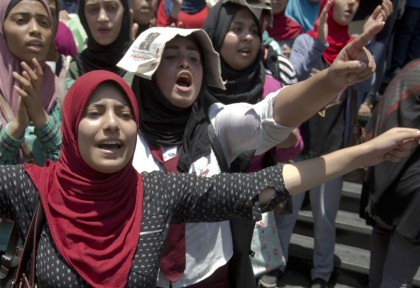 In Egypt students called for the resignation of the education minister last month. (Associated Press/Amr Nabil.)