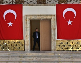 A guard stands outside the Turkish Parliament  (AP Photo/Hussein Malla).