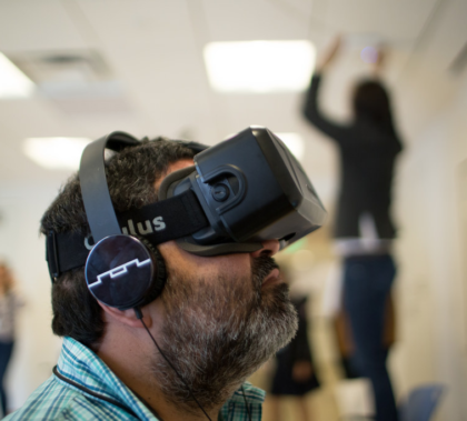 A demonstration of virtual reality at the Knight Center for Journalism at the University of Texas-Austin.