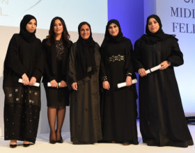 At an awards ceremony at Zayed University's Convention Center in Dubai, Maha Al-Asmakh and three recipients were each awarded a generous endowment, of EUR20,000.
