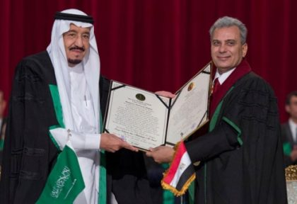 King Salman receives honorary doctorate from Cairo University.