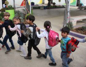Syrian students take lessons at nine centers set up in the Beqaa' by MAP (Photo by Motiaa Hallak)