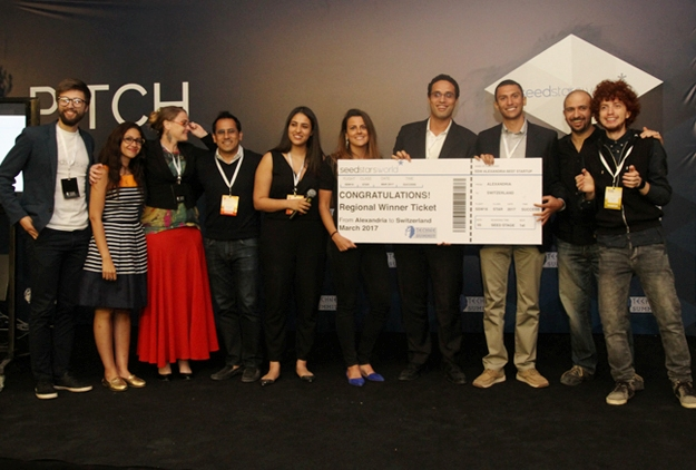 Tutorama co-founders Omar Khashaba and Mohamed Khodeir (4th and 3rd from right, respectively) in May 2016, after winning the best seed-stage startup award from Seedstarts Alexandria, at the Techne Summit.