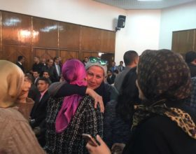 Parents of AUC students celebrate the court verdict on March 12. Photo credit: AUC Caravan newspaper