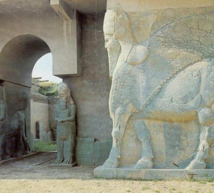 Lamassu sculptures at gate of Assyrian palace at Nimrud, before destruction by Da'esh. Credit: M. Chohan