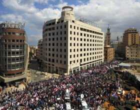 Protesters frequently take to the streets in Beirut. (Photo credit: Bilabl Hussein, AP)