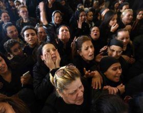 Mourners in Alexandria at a funeral for the blast victims on Palm Sunday.